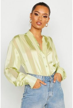 Sage green Satin Stripe Button Through Blouse