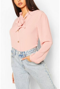Blush pink Pussybow Button Through Volume Sleeve Blouse