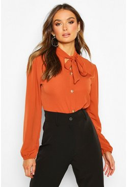 Rust orange Pussybow Button Through Volume Sleeve Blouse