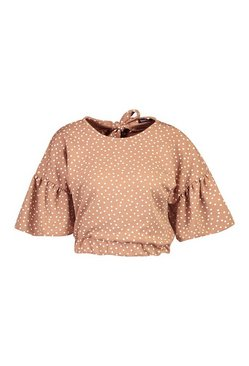 Mocha Polka Dot Ruffle Sleeve Tie Neck Top