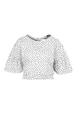 White Polka Dot Ruffle Sleeve Tie Neck Top