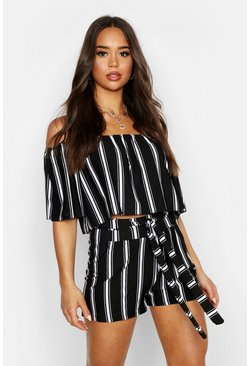 Black Striped Bandeau And Short Co-ord