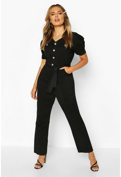 Black Tie Waist Sleeve Detail Denim Jumpsuit