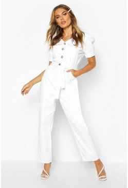 Ecru white Tie Waist Sleeve Detail Denim Jumpsuit
