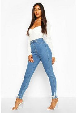 Light blue blue Power Stretch Frayed Hem Skinny Jeans