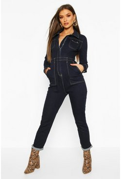 Indigo Power Stretch Utility Pocket Denim Boilersuit