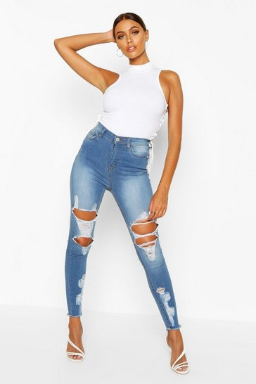 Light blue blue Power Stretch High Rise Distressed Skinny Jean