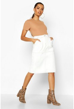 Ecru white Utility Contrast Stitch Denim Midi Skirt