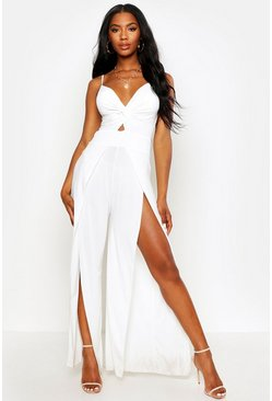White Twist Front Split Leg Jumpsuit