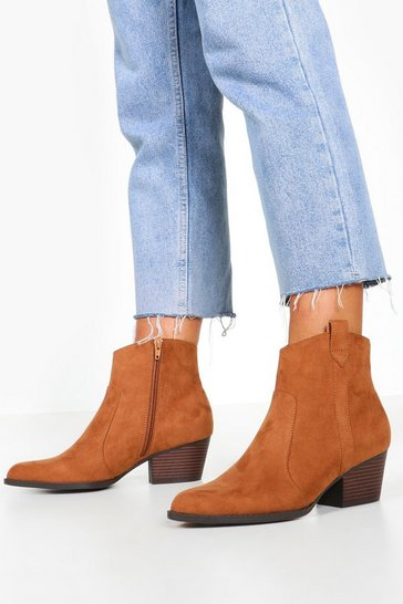 Tan Wide Fit Western Boots