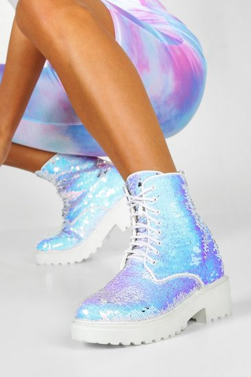 White Sequin Chunky Hiker Boots
