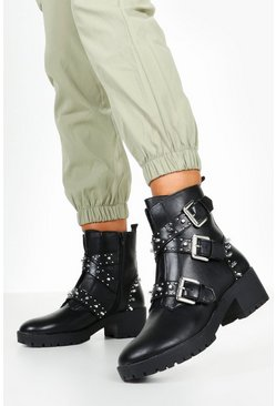 Black Studded Chunky Hiker Boots