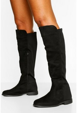 Black Wide Width Wider Calf Knee High Boots
