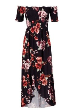 Black Floral Off The Shoulder Maxi Dress