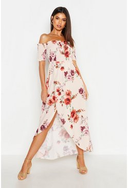 Cream white Floral Off The Shoulder Maxi Dress