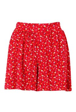Red Ditsy Floral Shorts