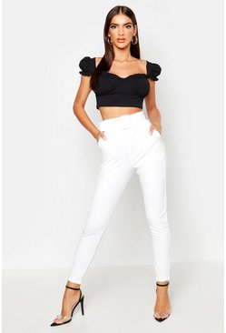 Ivory white Belted Cigarette Trousers
