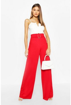 Red Buckle Detail Crepe Wide Leg Trousers