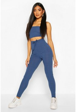 Denim-blue blue Rib Knit Bandeau Crop & Jogger Set