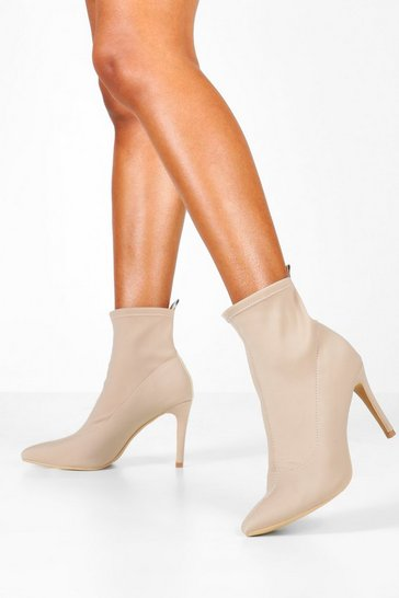 Nude Pointed Stiletto Sock Boots
