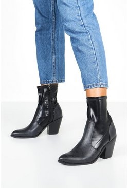 Black Mix Material Sock Western Boots