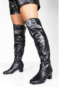 Black Wider Leg Wide Width Over The Knee Boots