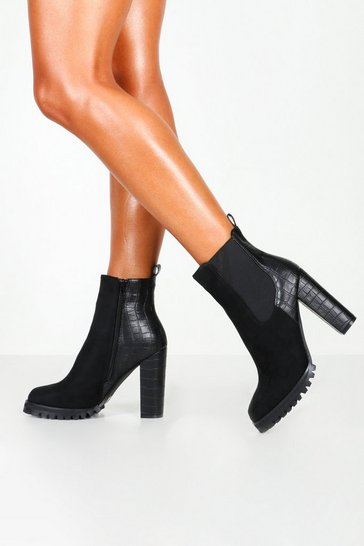 Black Croc Panel Heeled Hiker Boots