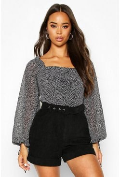 Black Woven Ditsy Print Volume Sleeve Crop Top