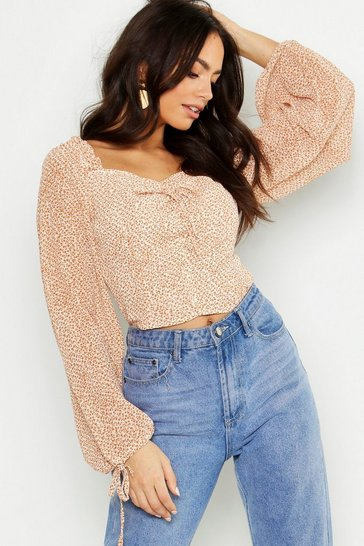 Tan brown Woven Ditsy Print Volume Sleeve Crop Top