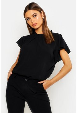 Black Woven Frill Sleeve & Neck Blouse