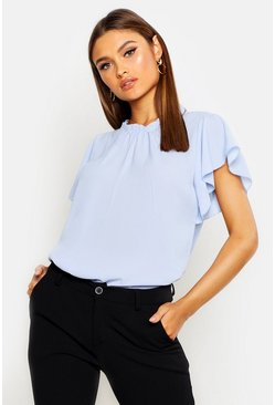 Sky Woven Frill Sleeve & Neck Blouse