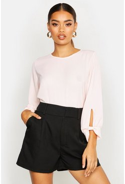 Blush Bow Sleeve Woven Blouse