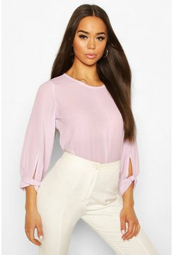 Lilac purple Bow Sleeve Woven Blouse
