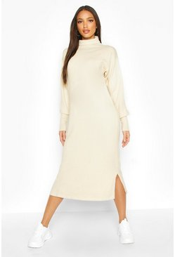 Cream white Premium Knitted Turtleneck Maxi Dress