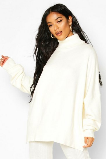 Ivory white Oversized Turtle Neck Knitted Jumper