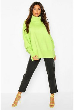Lime Oversized Turtle Neck Knitted Jumper