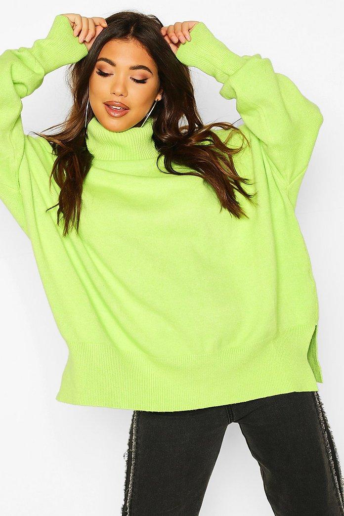 Oversize stickad tröja med polokrage och ballongärm | boohoo SE