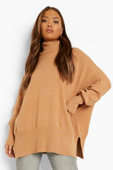 Mocha beige Oversized Turtle Neck Knitted Jumper