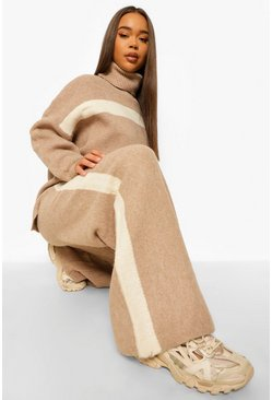 Mocha beige Premium Heavy Knitted Stripe Set