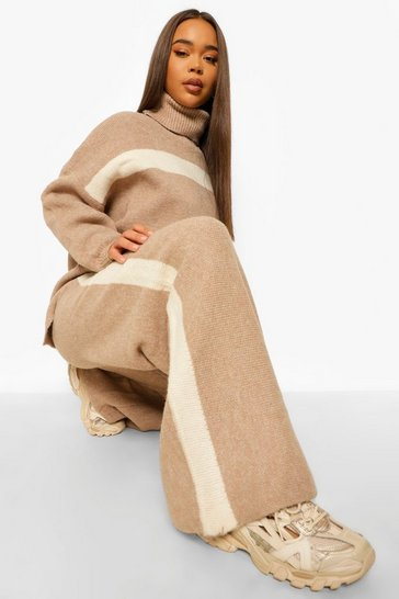 Mocha beige Premium Heavy Knitted Stripe Set