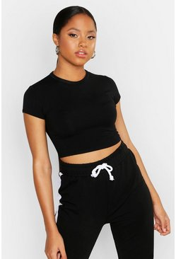Black Cropped Capped Sleeve T-Shirt