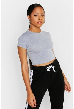 Grey marl grey Cropped Capped Sleeve T-Shirt