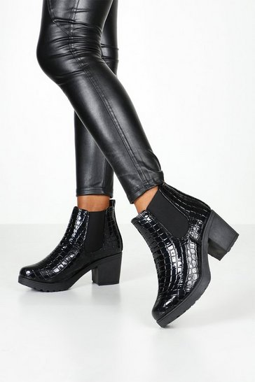Black Wide Fit Croc Chunky Chelsea Boots
