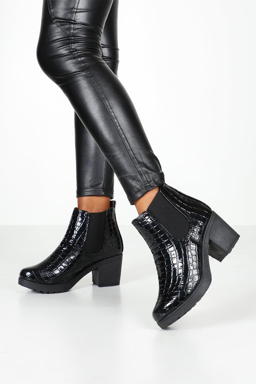 Wide Fit Croc Chunky Chelsea Boots | Boohoo UK
