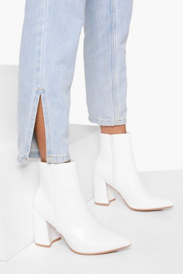 White Pointed Block Heel Sock Boots