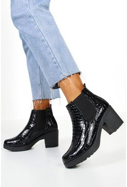 Black Croc Patent Chunky Chelsea Boots