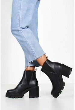 Black Wide Fit Cleated Block Heel Chelsea Boots