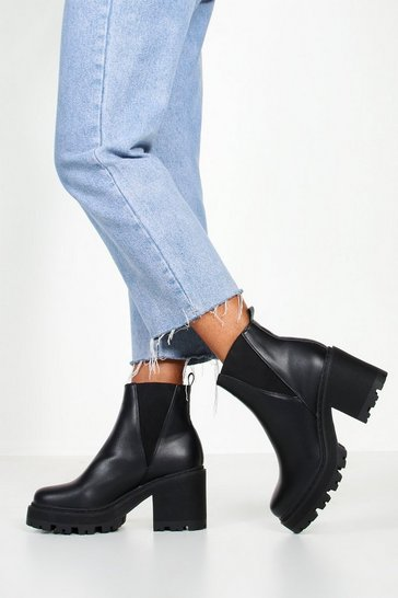 Black Wide Fit Chunky Block Heel Chelsea Boots