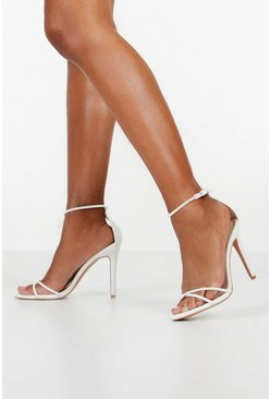 White Cross Strap Stiletto 2 Part Heels