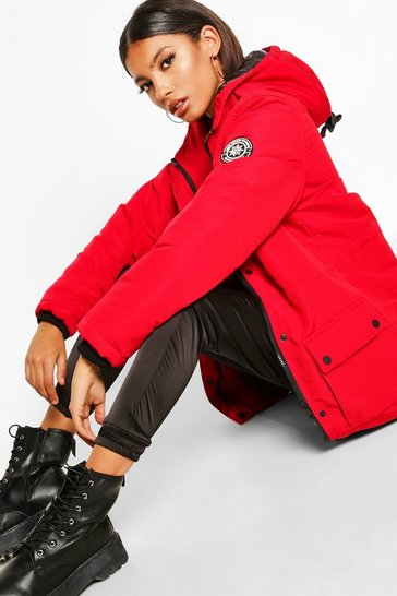 Red Pocket Detail Technical Parka